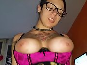Busty tattooed wife swallowing cum after riding fuck-stick